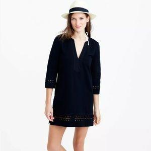 J. Crew Cotton Embroidered Tunic Dress Black XS